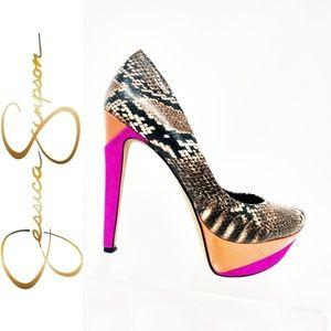 Womens Jessica Simpson Snake Heels 7.5 pink orange